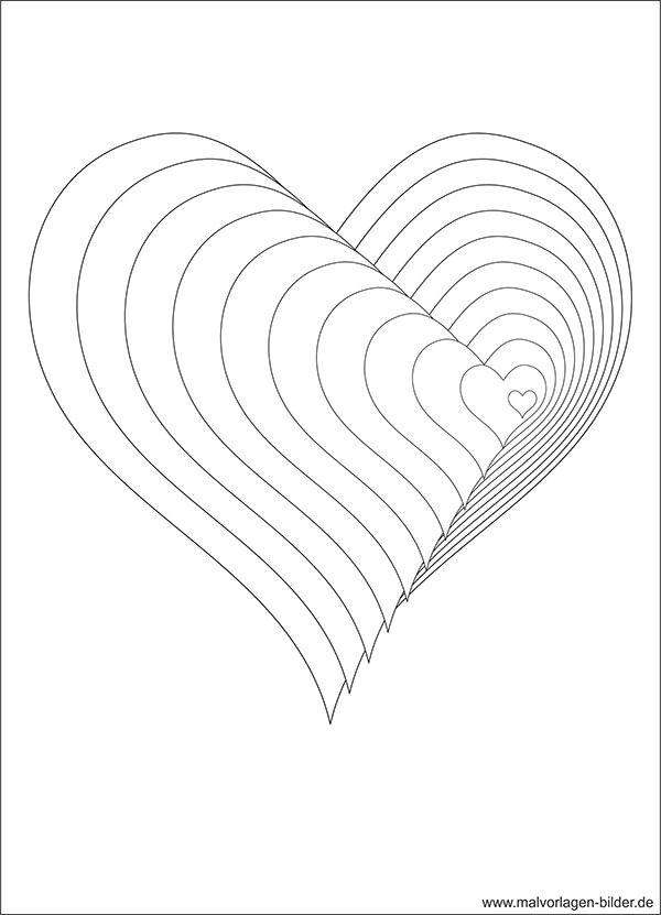 Drawing Heart 3d Art 3d Malvorlage Mit Herzen Templates Pinterest Herz Malen