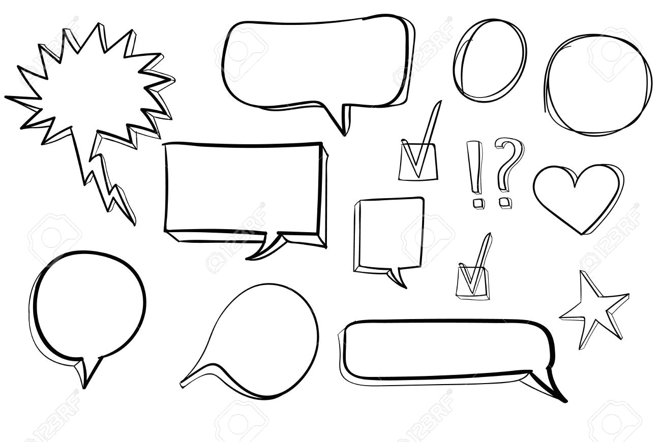 set od 3d hand drawn icons check mark star heart speech bubbles