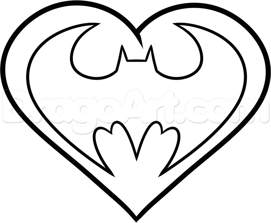 Drawing Heart Icon How to Draw A Batman Heart Step 5 Svg Files Pinterest Drawings