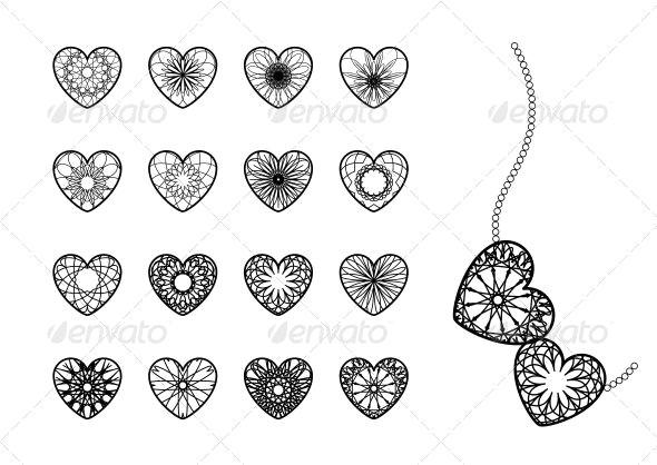 ornamental heart symbols