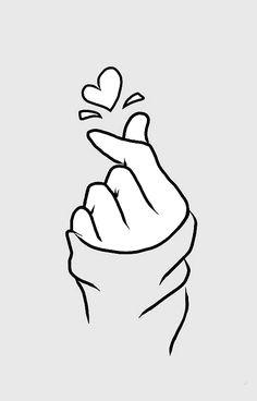 Drawing Heart Sign Korean Heart Fingers Shirt Finger Heart Sign Sticker Products