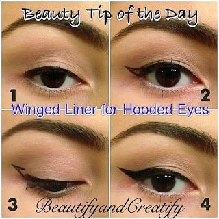 how to create winged eyeliner on hooded lids follow blog for more tips and tricks on how to create perfect cat eye