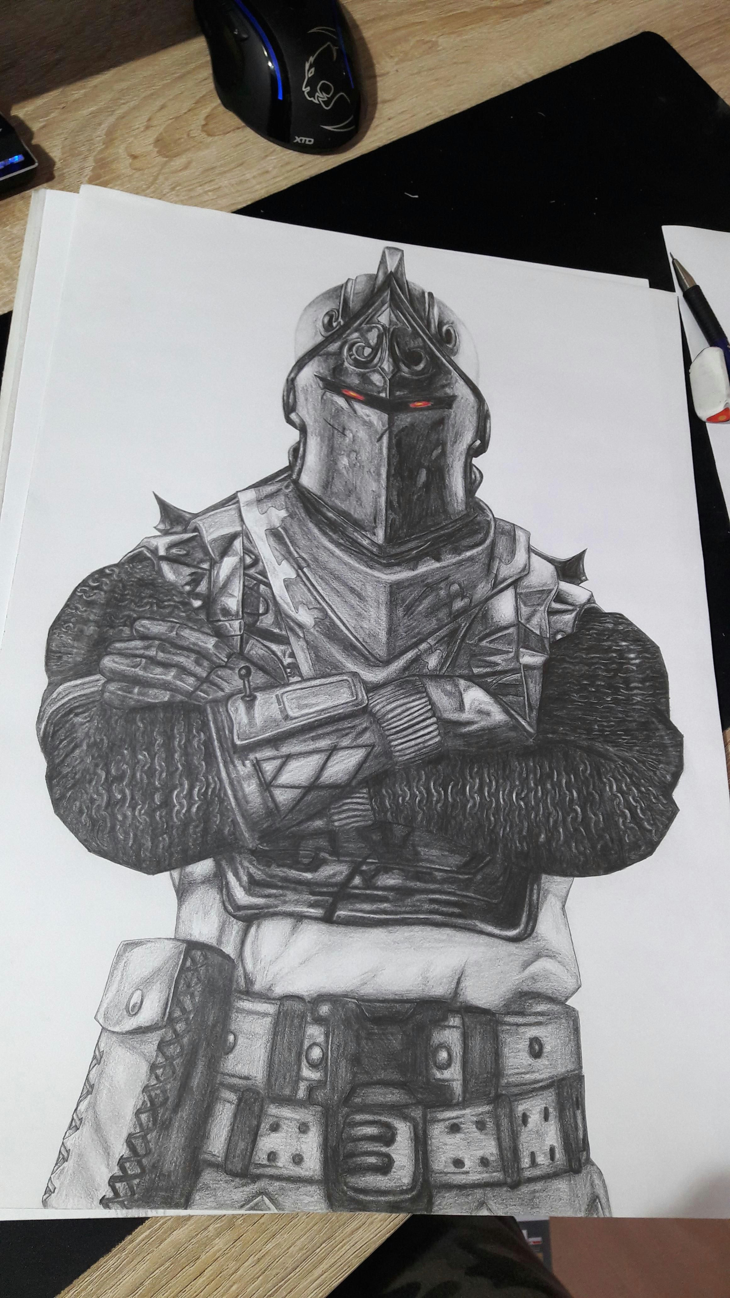 black knight fortnite drawing 30 x 40 cm