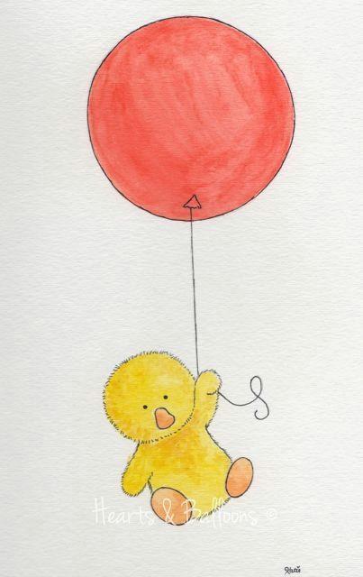 one red balloon floats a chicken around