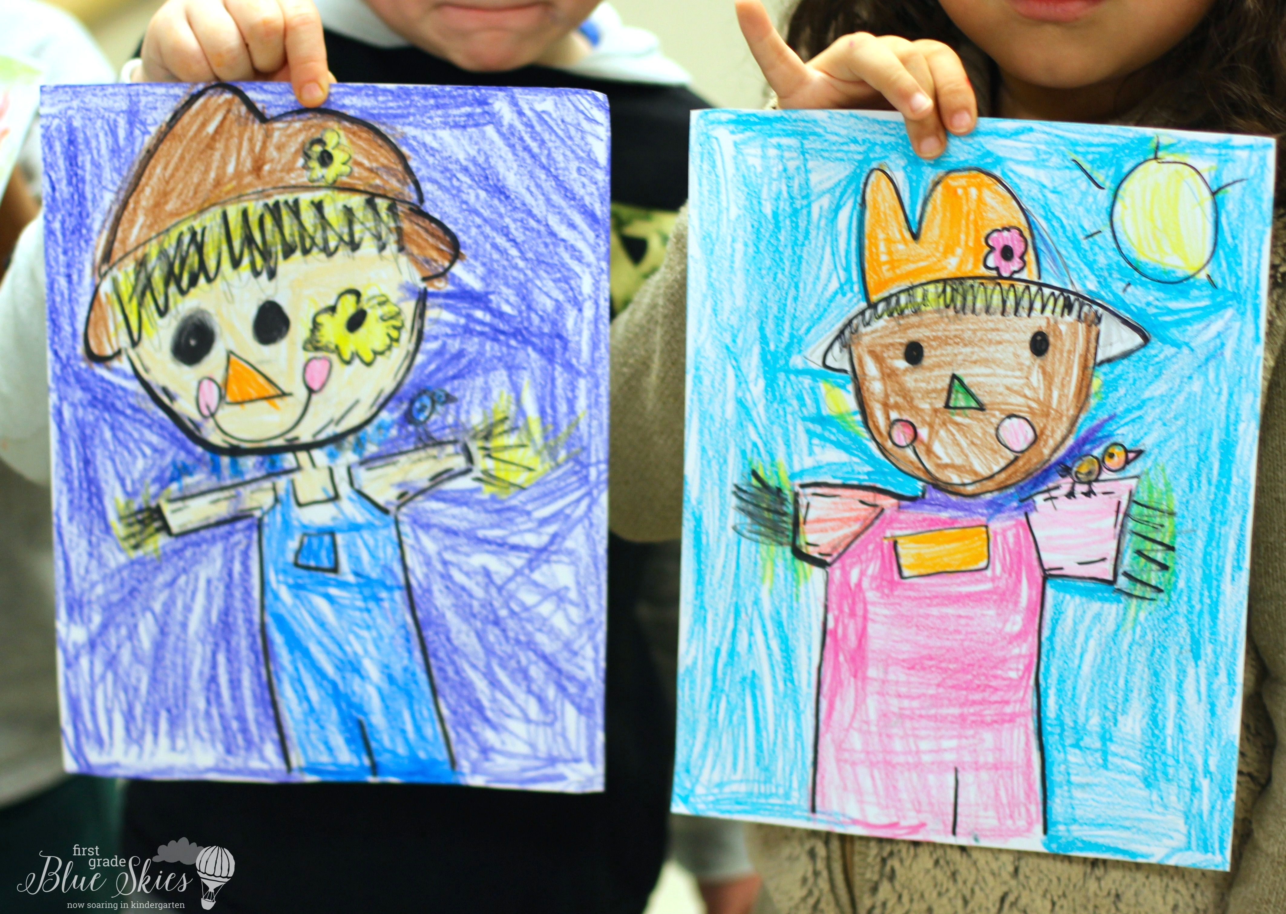 Drawing Ideas for 1st Graders Scarecrow Directed Drawing First Grade Blue Skies Kindergarten