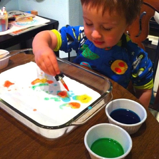 another pinner said this kept my 2 year busy for an entire hour and my 4 year old busy for 2 hours yay drop vinegar tinted with food coloring onto a pan