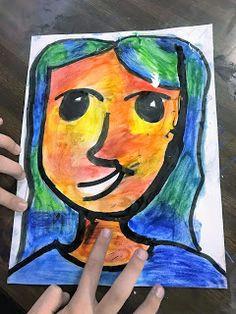 colorful 5th grade self portraits