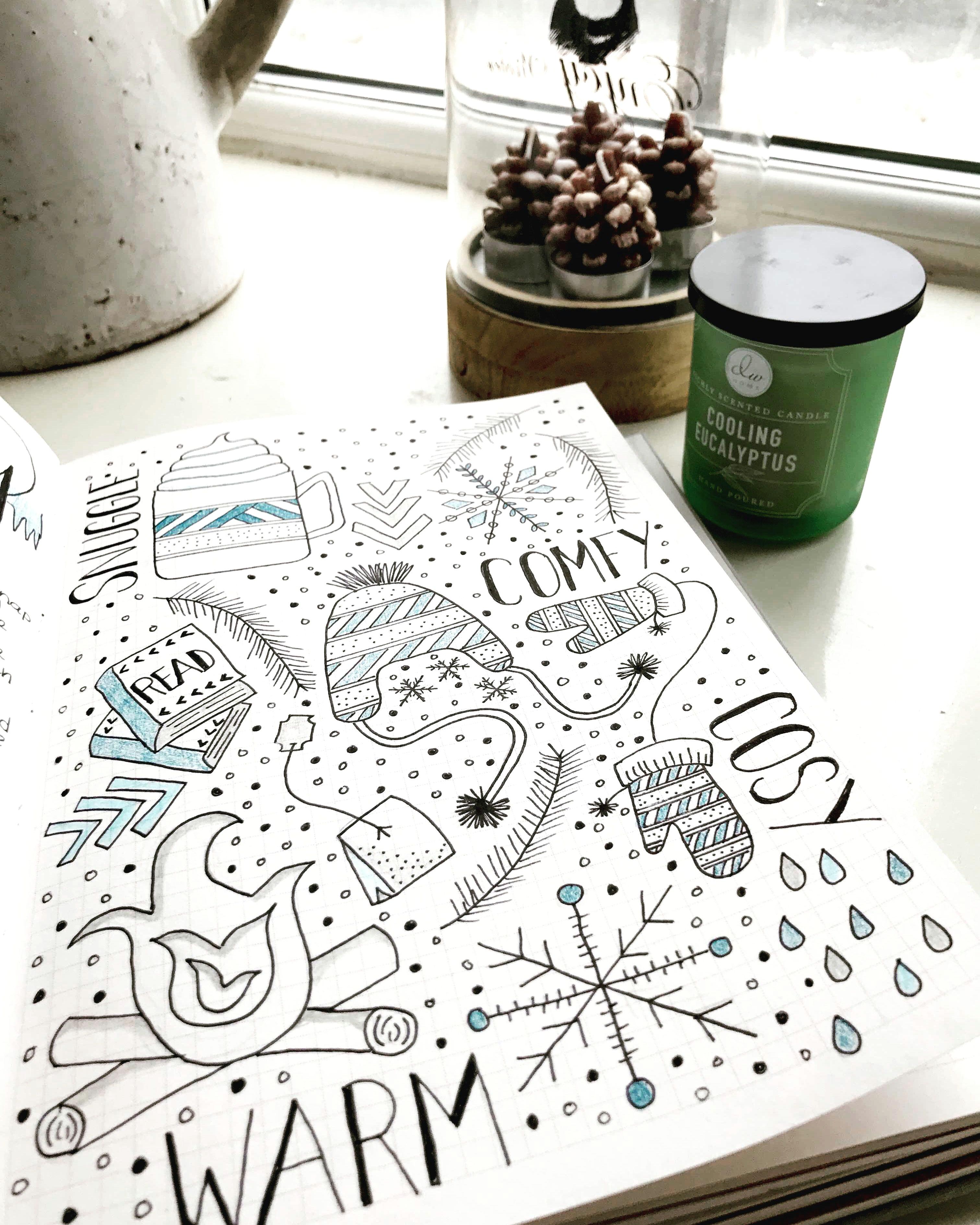 bullet journal winter theme creative journal journal ideas coloring books seasons sketch