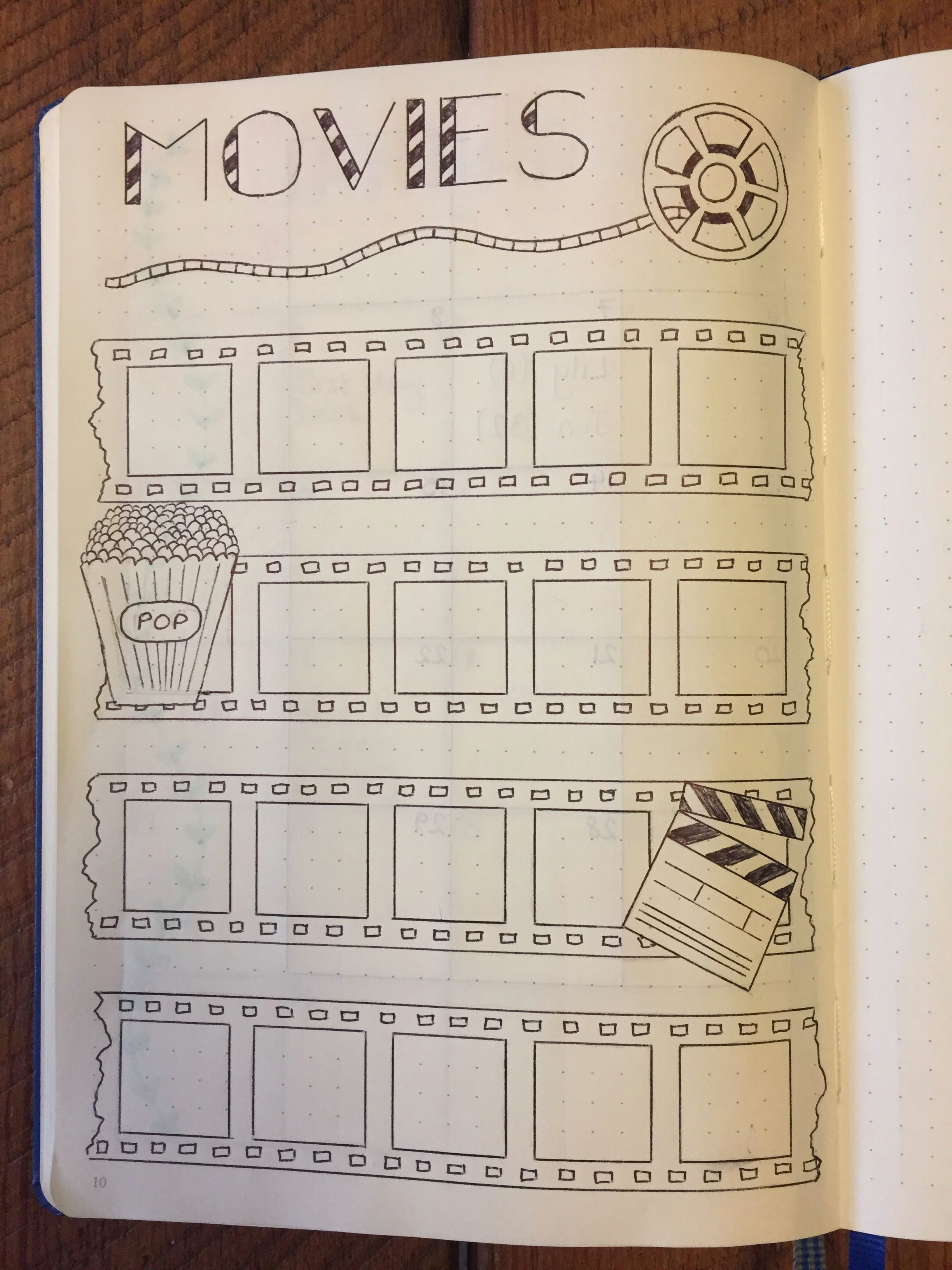 Drawing Ideas for Bullet Journal My Movies Page Bullet Journal Bujo Page Bullet Journal Stuff