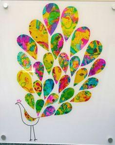 peacock art preschool auction projects kindergarten projects art auction projects group projects