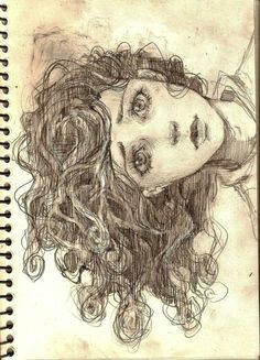 pencil portrait drawing almost looks like a portrayal of medusa