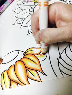 marker bleeding van gogh sunflowers art lesson
