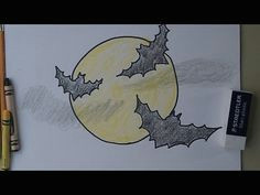 how to draw bats flying across the moon youtube bat flying halloween drawings