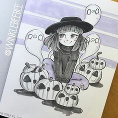 cute witch with jack o lanterns and ghosts ink minimal color cute drawings