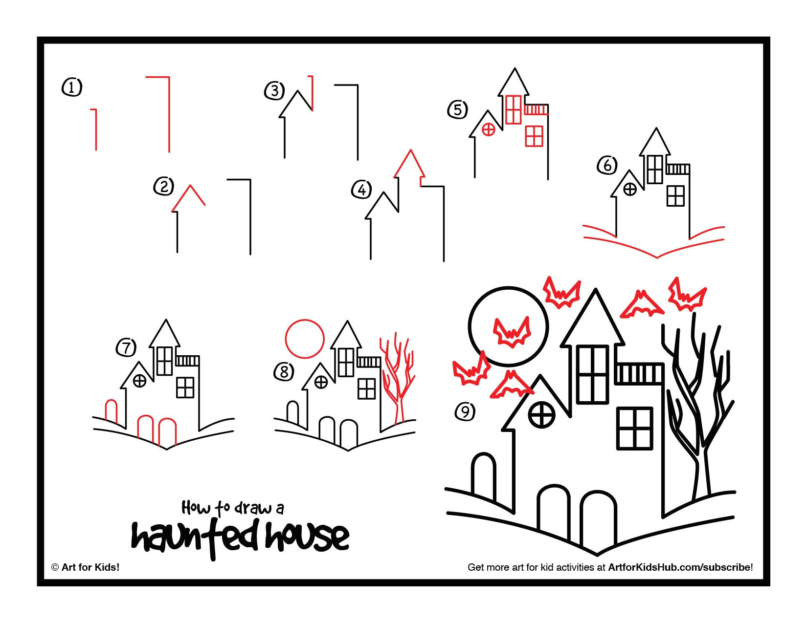 how to draw a haunted house google search