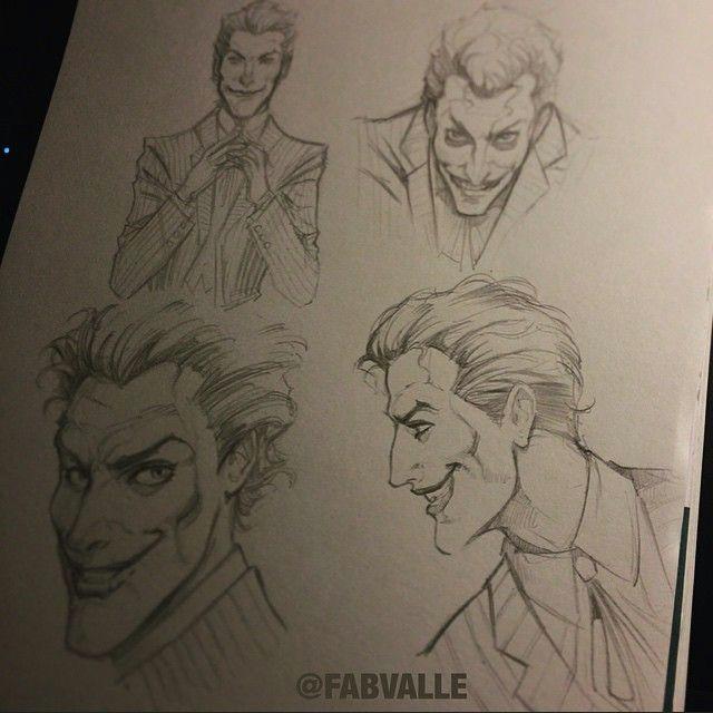 joker poses study pencil sketch fabiovalleillustrations joker sketch comics batman drawing art dccomics