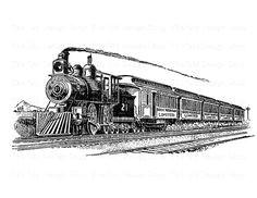 vintage train printable steam engine locomotive clip art