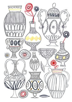 vases jenny bowers reminds me of all those college drawing classes drawing symmetrical vases and ovals but could be a good simple sketchbook idea to