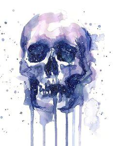 galaxy skull watercolor skull skull gifts skull print skull art skull wall art space wall art galaxy wall art skull painting giclee