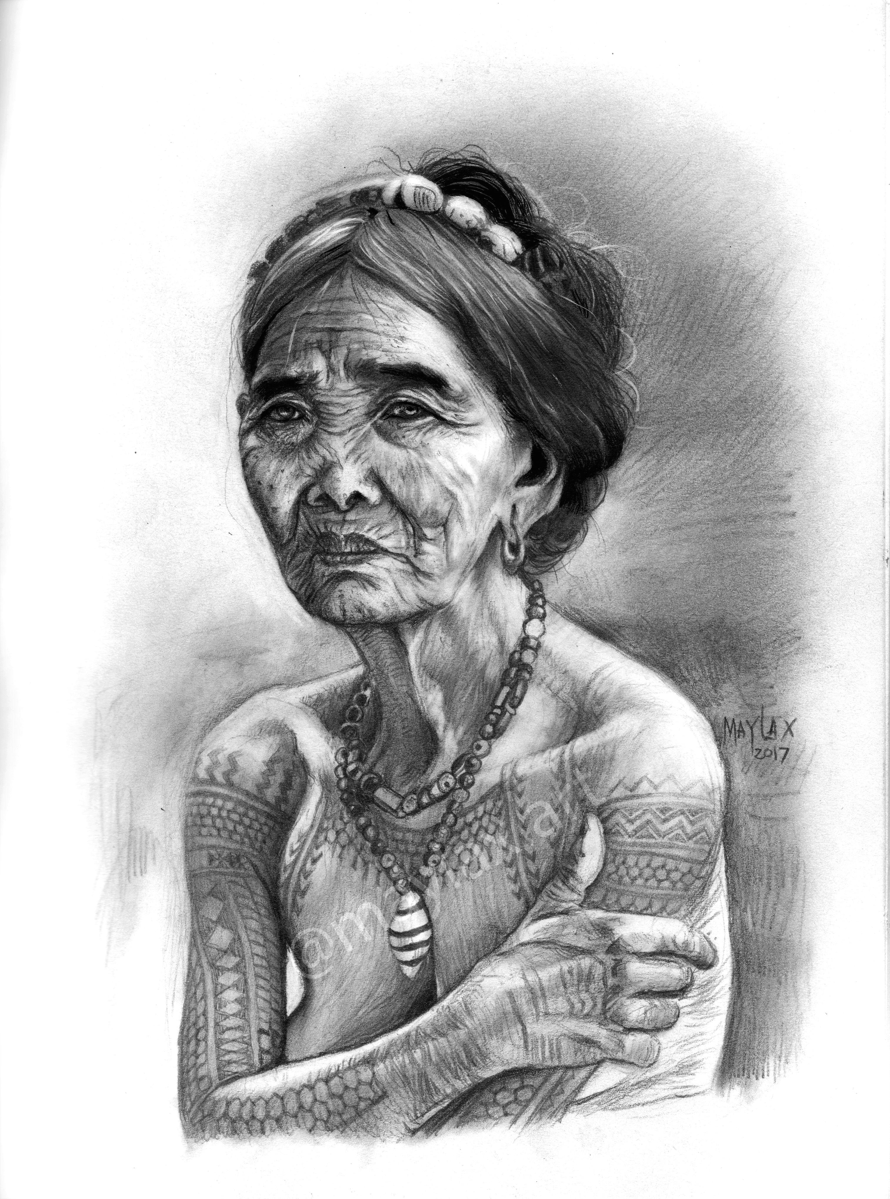my apo whang od pencil portrait apowhangod apowhangod pinoyculture buscalan ink tribaltattoo artph tattoo pencilportrait