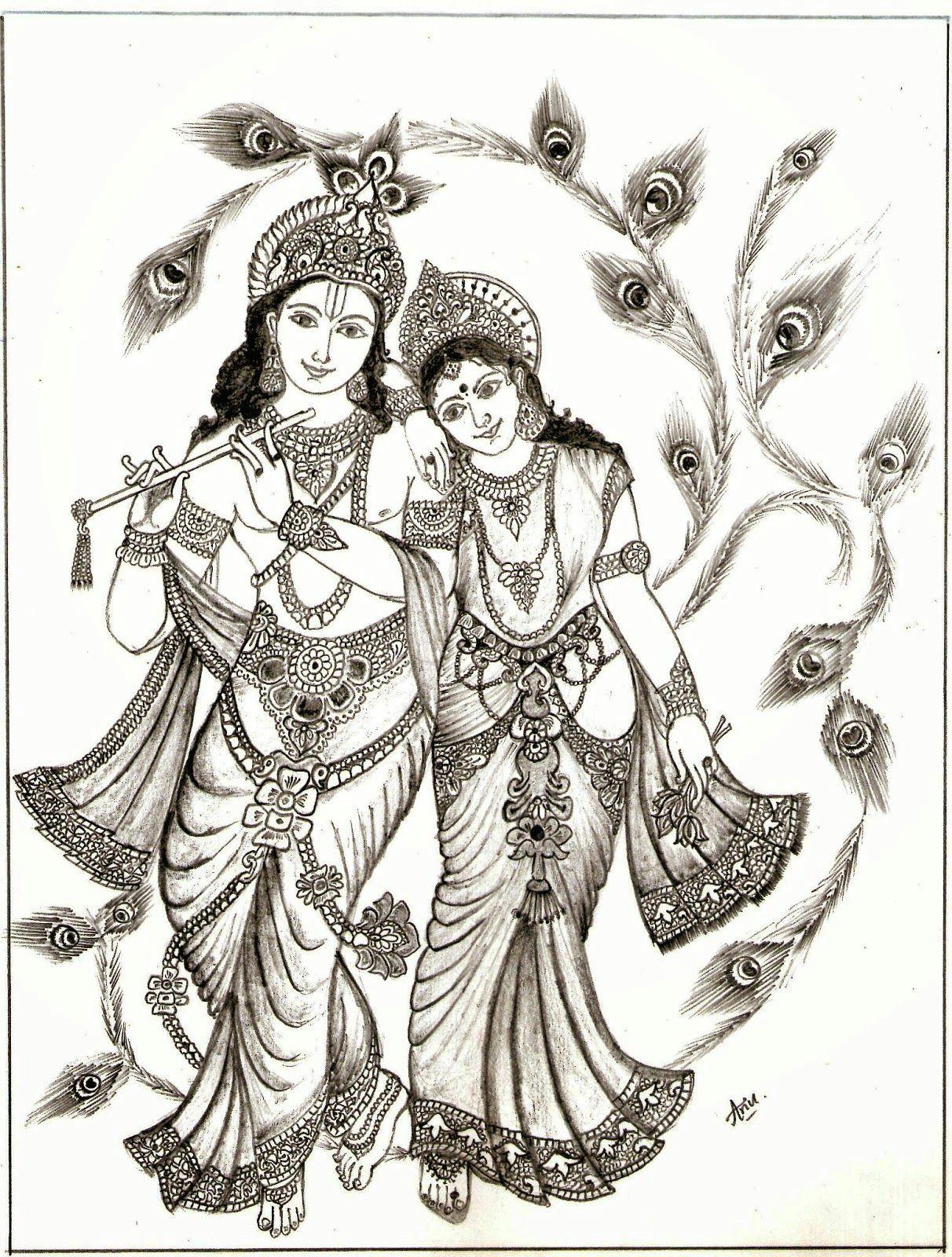 radha krishna picture drawing drawing images