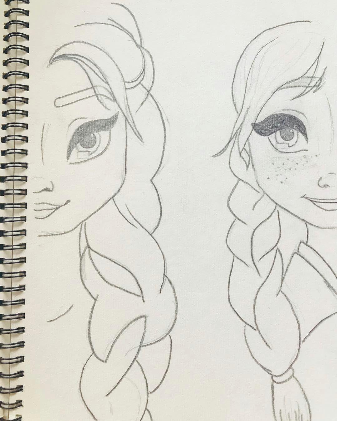 art drawing zeichnung bleistiftzeichnung elsa anna dieeiskonigin hard drawings