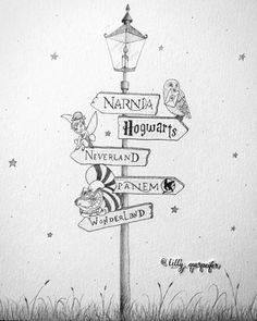 fazer o desenho parecido sa que com os nomes dos livros preferidos neverland hogwarts