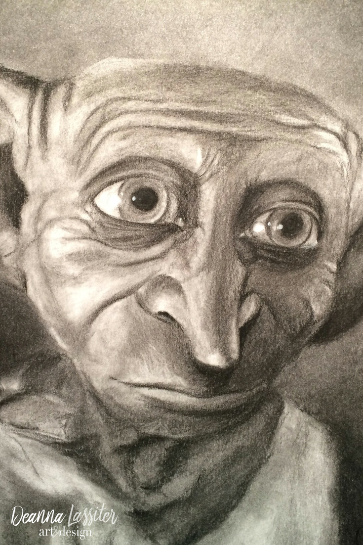 dobby from harry potter charcoal portrait
