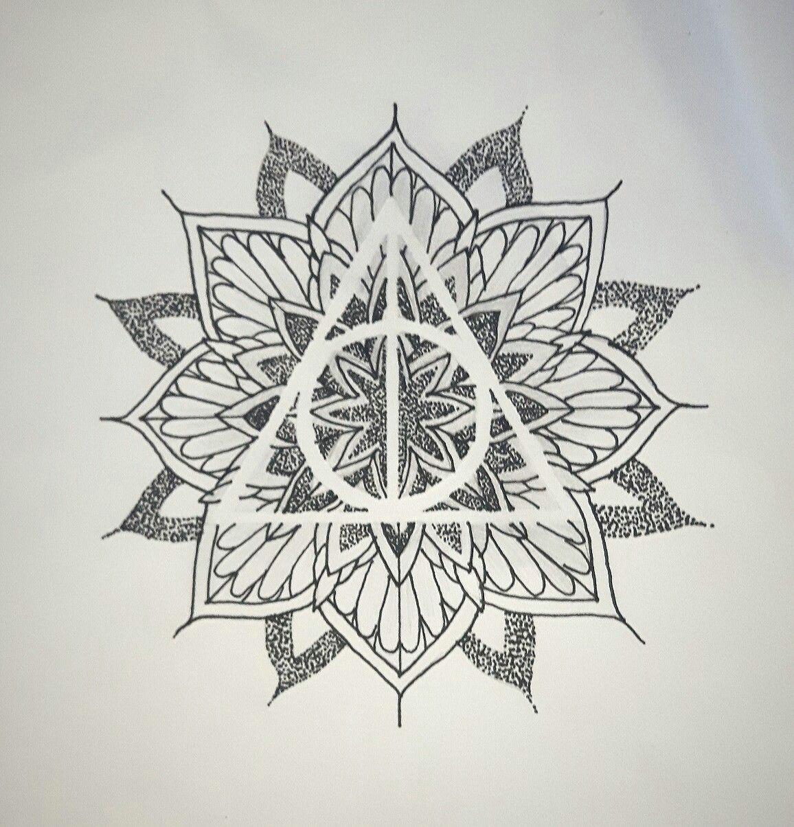 harry potter mandala tattoo idea deathly hallows