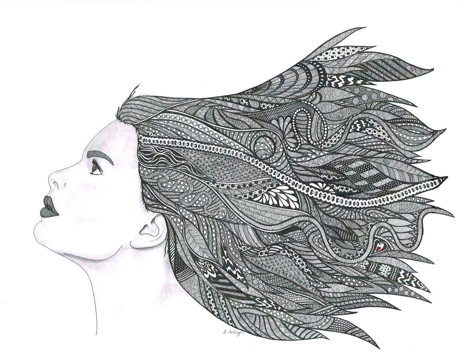 pencil and pen drawing art print windy day