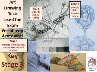 evaluation drawing ks3 yr 7 rope drawing yr 8 fabric pattern and peg