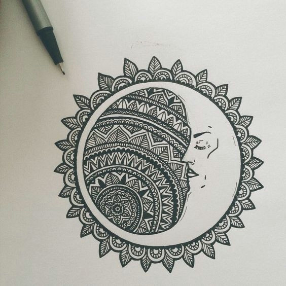 the moon resting in a mandala