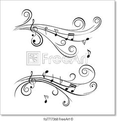 free art print of ornamental music notes