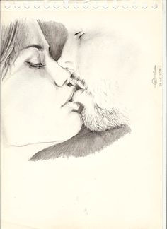 drawing of lovers couple love sexy kiss dessin art artwork pencils portrait sketch