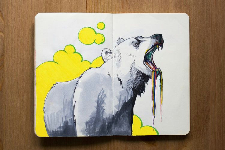 taylor design collective sketchbook moleskine illustration bear crayons pen ink sketch drawing color rainbow