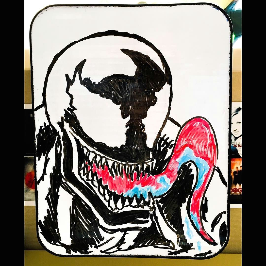 whiteboardmusings venom draw sketch illustration dryerase marvel marvelcomics spiderman rogue villain instaart instagood comics comicart