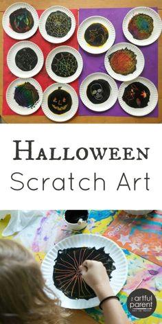 halloween scratch art for kids autumncrafts halloweencrafts halloweenactivities autumnrecipes artfulparent