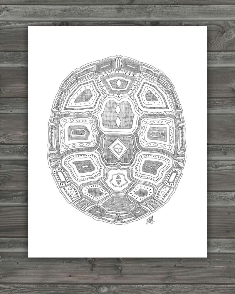 geometric turtle shell archival print pattern idea for needlework