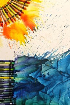 glue crayons to a piece of cardboard or to the a canvas then get a blow dryer turn it on and hold at an angle the crayon will start to melt and