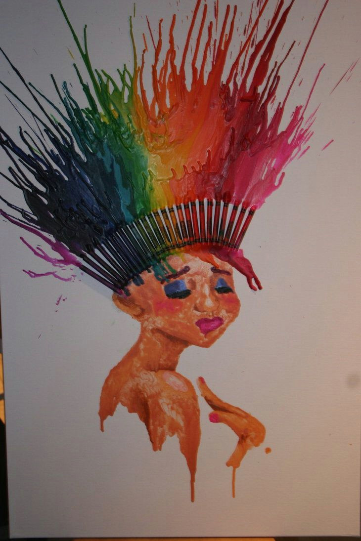 crayon melt hair sick concept maybe more of a headdress