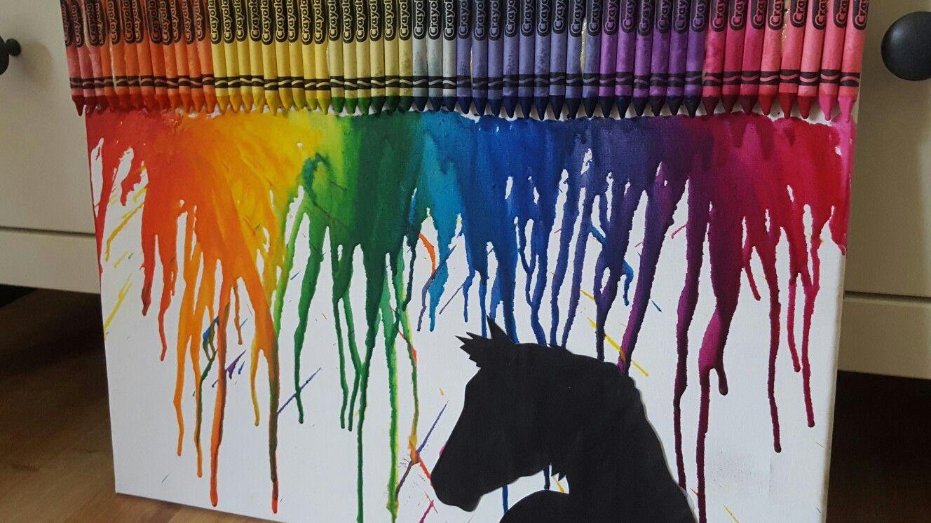 horse silhouette melting crayon art horse silhouette melting crayons crayon art diy ideas