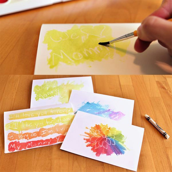 write or draw with a white crayon then put on the watercolours