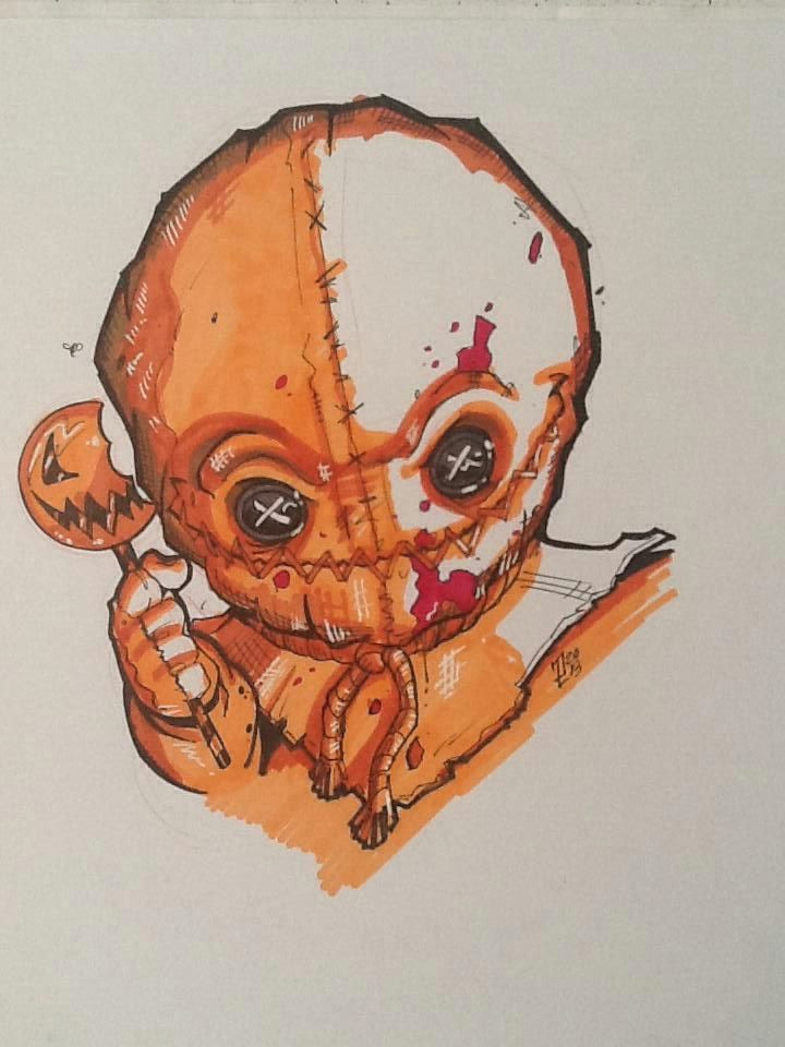 today s horrorchallenge by mercenary art studio artist puis calzada trick r treat s sam copic marker on board
