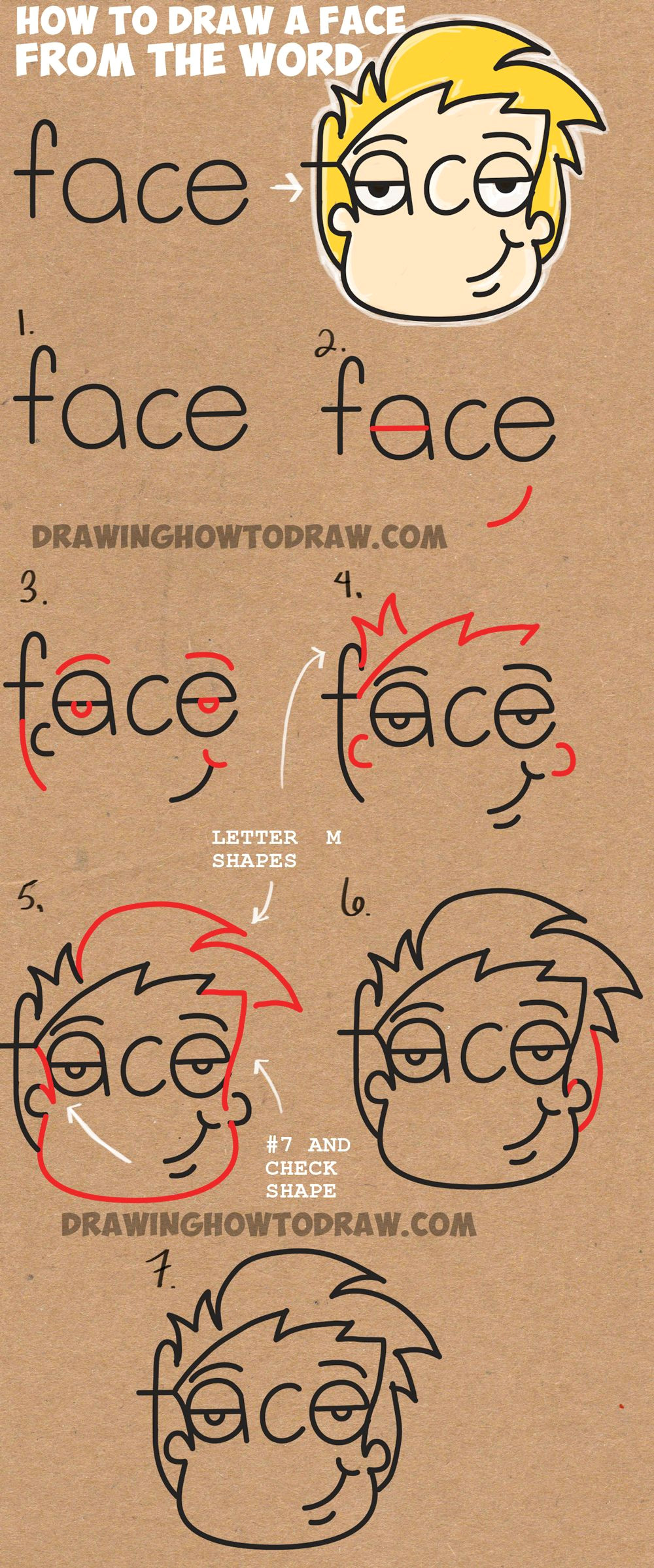 learn how to draw cartoon faces from the word face simple steps drawing lesson for kids