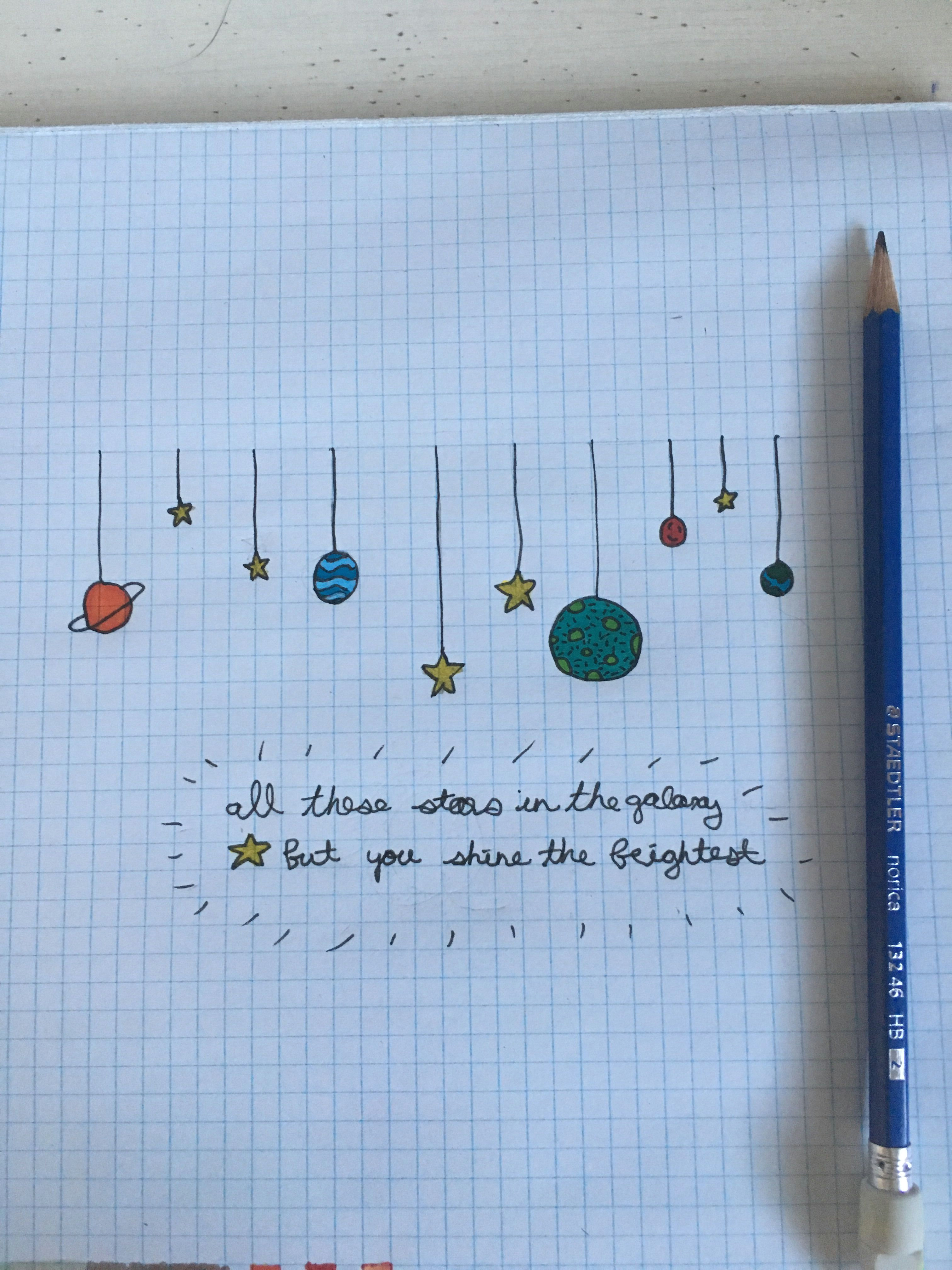 i drew some planet and decided to add some words at the bottom i really
