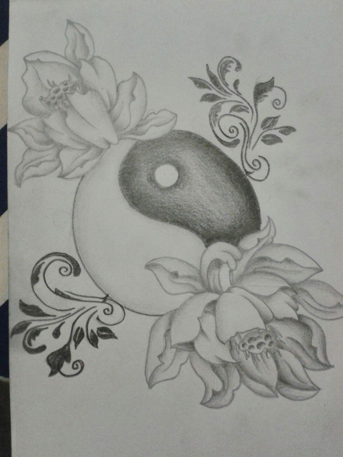 r3dwall art lotus flower yin yang tattoo design
