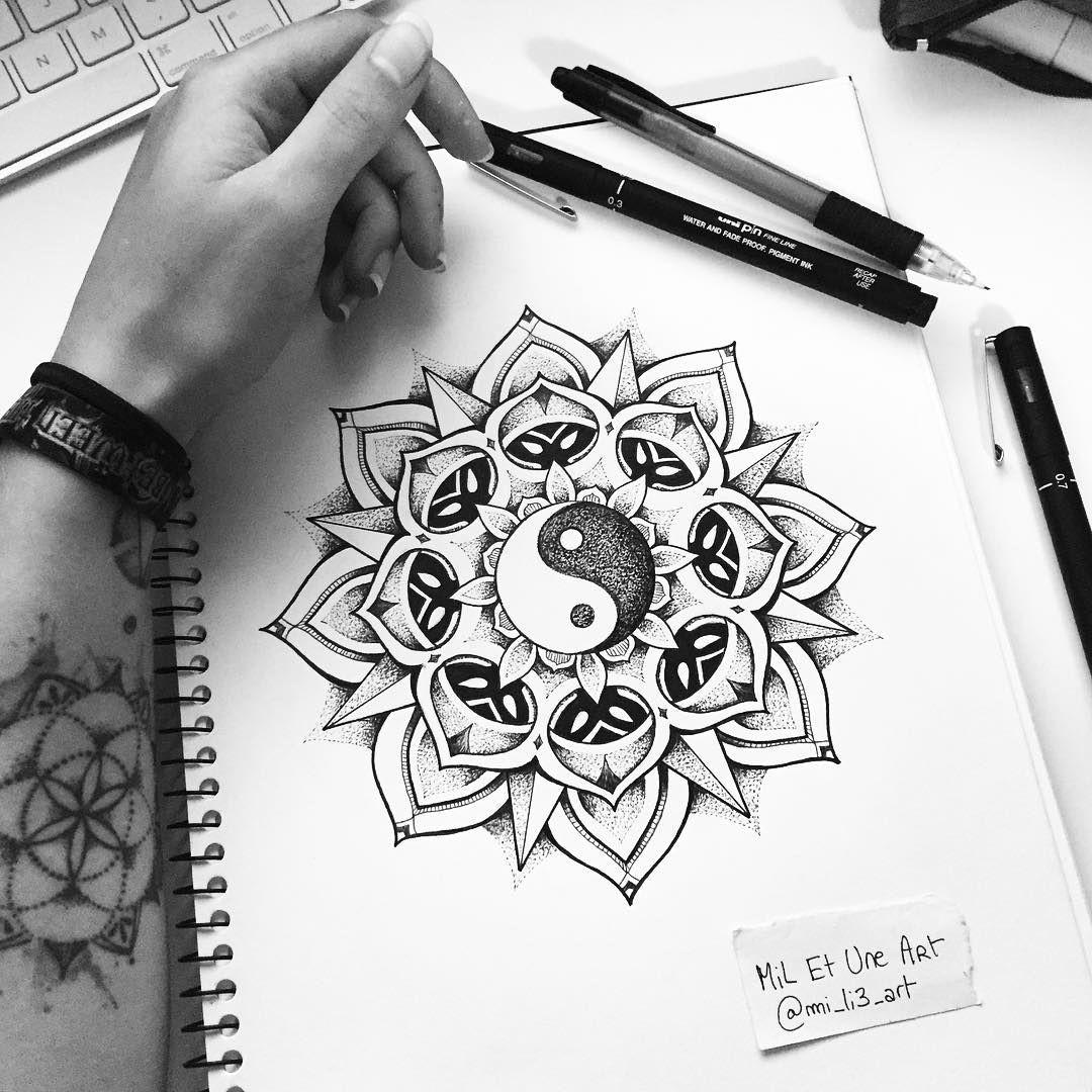 yin yang dotwork mandala tattoo design miletune