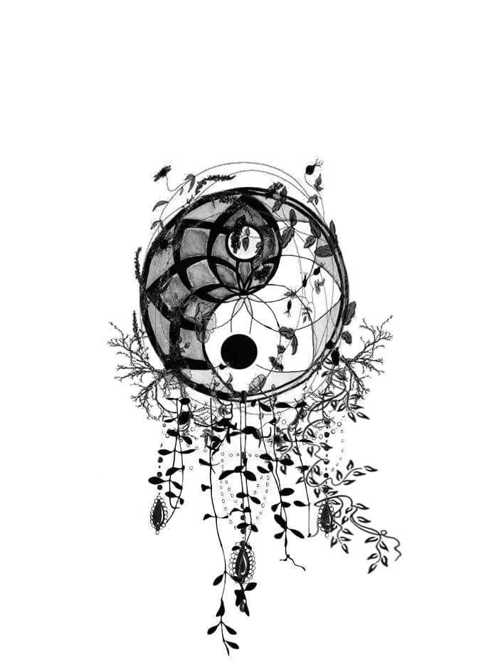 ying yang dream catcher par simplement sofie