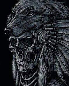 native indian wolf and feather head dress possible metaphor the skull indicates the death of a native indian that wore this head dress once upon a