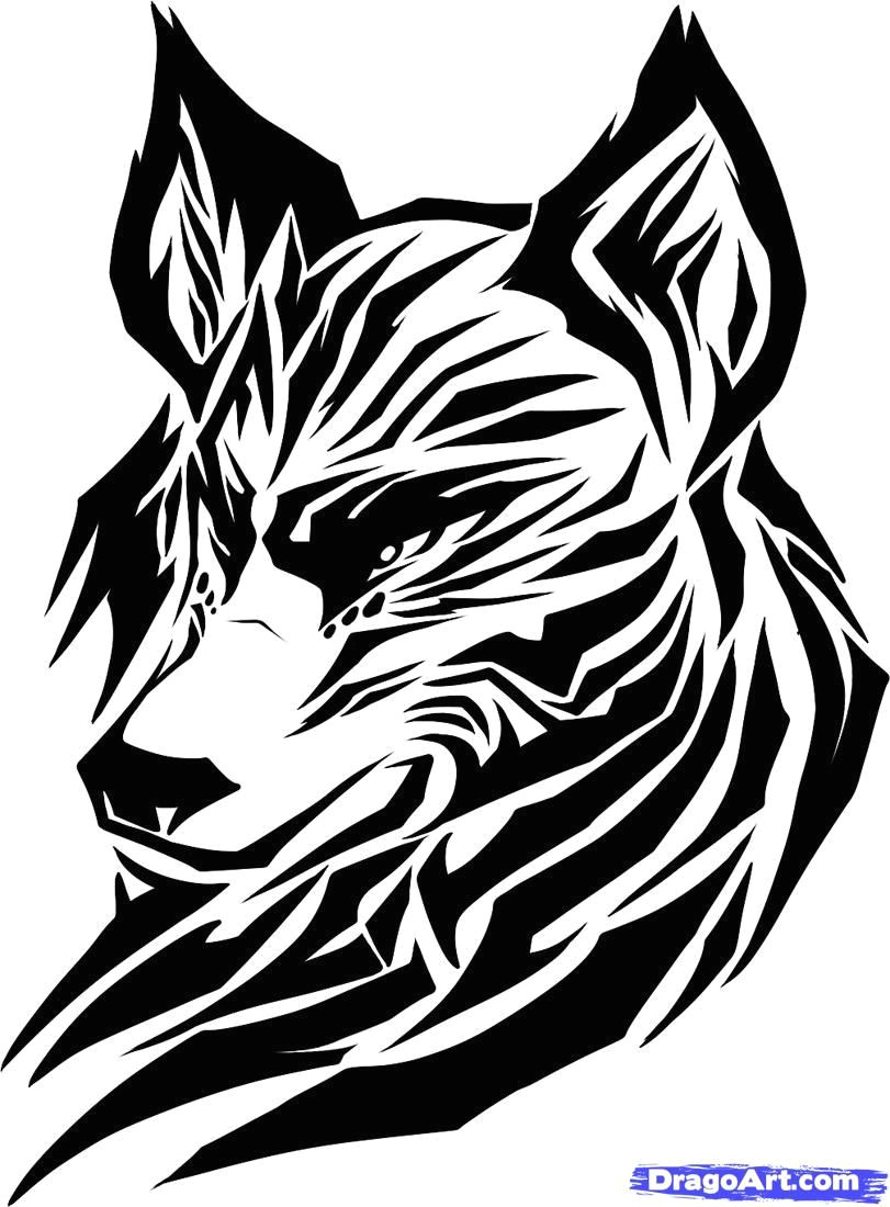 draw a tribal wolf tribal wolf step by step drawing sheets